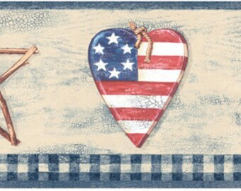 Angels, Twig Stars and Flag Hearts Prepasted Wall Border for Crafting Crafts