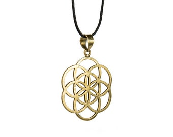 Seed of Life Pendant On Adjustable Cord Necklace Spiritual jewellery Yogi Jewellery Geometry Jewellery Handmade Free UK delivery CH1