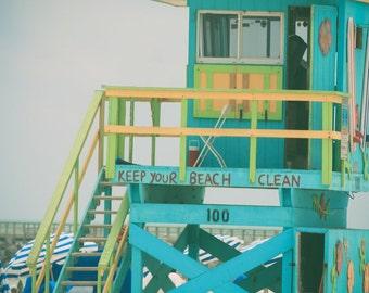 Beach Stand, Lifeguard Tower Photo, Lifeguard Stand Photography, Lifeguard Tower, Miami Beach, Beach Wall Art Print, Miami Photography