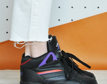 90s RAVE sneakers club kid sneakers HIGH top sneakers faux leather shoes vegan sneakers cheerleader sneakers / Size 6 us / 3.5 uk / 36 eu