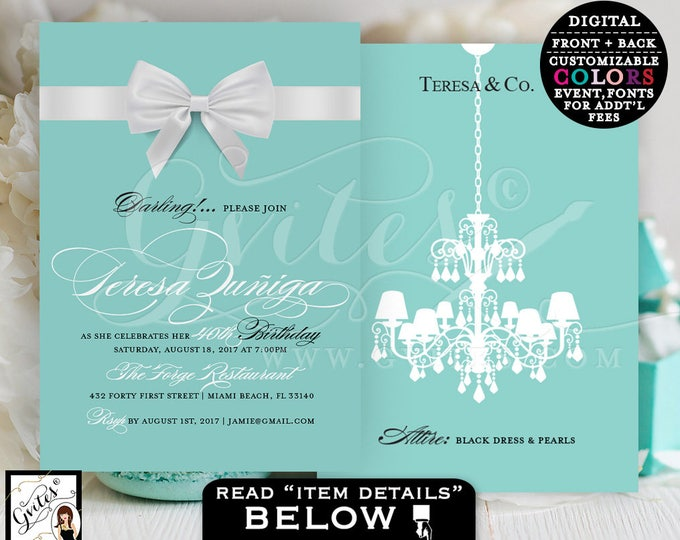 Teresa & Co birthday invitations, breakfast at blue themed, customizable invites, turquoise blue and white, bow chandelier ribbon, 5x7.