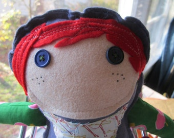 Rosie The Red Headed Scraparella Upcycled Handmade Stuffed Doll