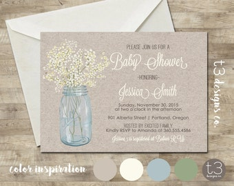 Country Baby Shower Invitation, rustic baby shower invite, mason jar invite, printed invitations, country baby shower invitation, neutral T5