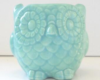 Owl Planter Ceramic Mini Owl Desk Planter Vintage Design in Aqua Blue Teacher Gift Succulent Pot or Sponge Holder Office Gift