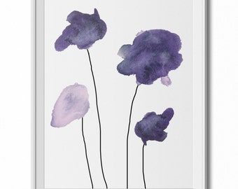 Four Eggplant Watercolor Flowers Wall Art Print - 11x14 PDF Instant Download