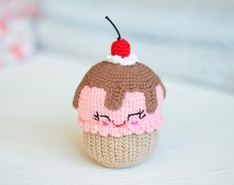 Raspberry chocolate cupcake With cherry, Crochet Baby toy, Kawaii Amigirumi Play Food, Soft Toy,Plush Cake, photo props