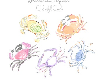 Colorful Crabs Clip Art Collection - Watercolor Clip Art  - Crabs - Sea Animals - Beach Clip Art - Scrapbooking  - Printable - Sea Life Art