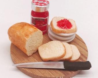 Miniature Breakfast set,Miniature Bakery,Miniature Bread,Dolls and miniature