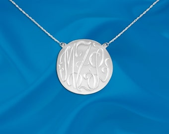 Monogram necklace .5 inch Personalized Monogram Sterling Silver Hand Engraved Initial Necklace - Made in USA