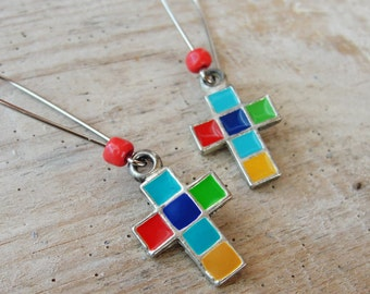 Cross Earrings - Enamel Multicolored Mosaic