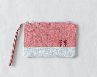 Linen purse coin pouch linen coin purse hand embroidered linen pouch sunset sunrise small coin purse christmas gift linen bag women's