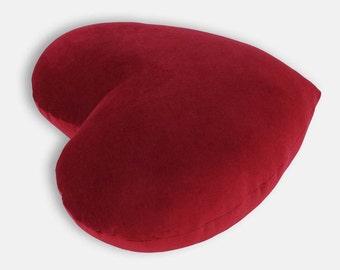 Deep Red Velvet Heart Shaped Decorative Pillow - Medium Size