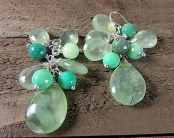 Prehnite & Chrysoprase Earrings, Green Cluster Earrings