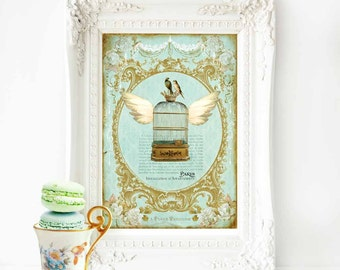 Flying bird cage French art print, vintage decor in green and gold, A4 giclee