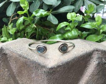Labradorite Sterling Silver Cuff Bracelet, Labradorite Bracelet, Stone Cuff Bracelet