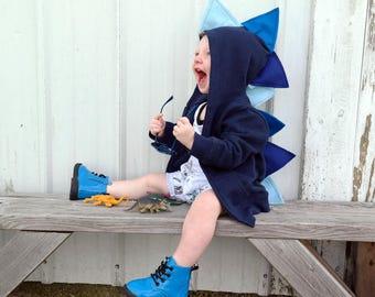 Boy dinosaur hoodie / baby dino hoodie / dinosaur 1st birthday shirt  / blue dinosaur /dino baby shower gift / kids birthday gift idea