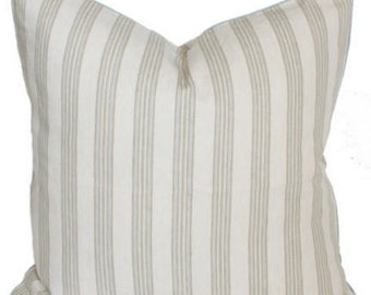 """Rogers and Goffigon Stripe Pillow Cover with Samuel & Sons Contrast Trim 22"""" x 22""""-Light"""
