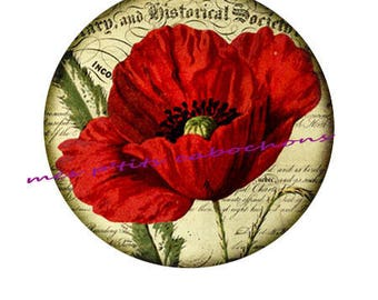 25 mm - pretty poppy 2 glass cabochon