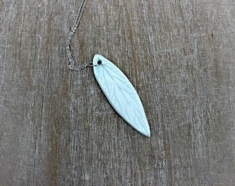 White porcelain necklace, porcelain jewelry, leaf necklace, white minimalist necklace, unique necklace, gift for her, gift white necklace,
