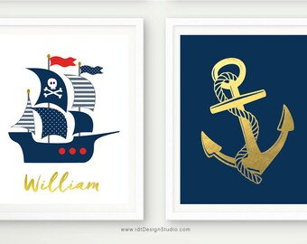 Anchor Wall Decor, Anchor Print, Pirate Ship, Set of 2 Nautical Prints, Nautical Name Print, Custom Name Print, Nursery Wall Art, D83-S1