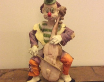 On Sale!  Vintage Ceramic Clown Playing Musical Instrument, Wooden Base,