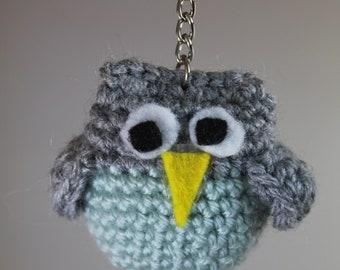 Owl Key Chain - Grey/Light Green