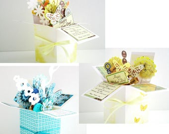 Handmade Custom Keep Sake greeting card in pop up exploding box card- Any topic or occasion- Free ship USA