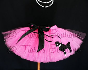 """Sock Hop Sweetie - 50's inspired poodle skirt tutu - 10"""" SEWN tutu in hot pink w/ black poodle applique- sizes Newborn up to 5T"""