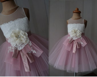 ALEXIA Powder Pink Tulle Ecru Lace Tulle Flower Girl Dress Vintage Dress Wedding Bridesmaid Dress