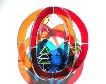 Rainbow Ridge - Stained Glass 3D Sphere - Medium Mountain Suncatcher Nature Sun Hanging Art Sculpture (READY TO SHIP)