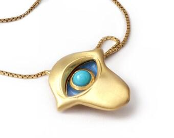 Gold hand necklace, Arizona turquoise, Gold hamsa necklace, Hand with turquoise gemstone, Jewish jewelry, Hand pendant, enamel, Gold hamsa