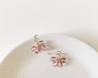 Pink Cluster Earrings • 14k Gold-Filled Ear Wires • Czech Glass Beads