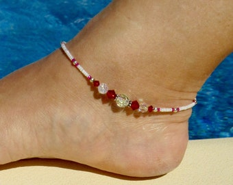 Anklet, ankle bracelet, Swarovski ruby Anklet, Swarovski crystal Ankle bracelet, Crystal Beach Anklet