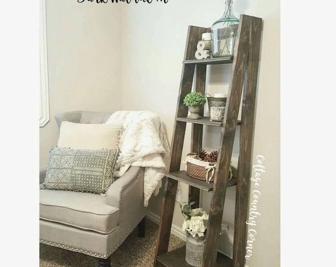 Tiered Ladder Shelf - Ladder Shelf - Bathroom Shelf - Bookcase - Wood Shelf - Plate Shelf