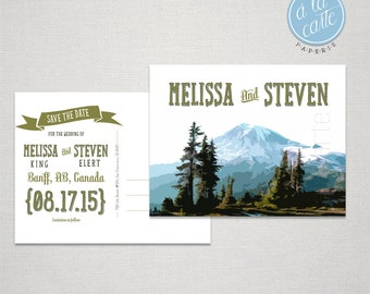 Destination wedding invitation Mountain Colorado Canada  Save the Date Postcard Ski destination wedding Wedding Stationary DEPOSIT PAYMENT