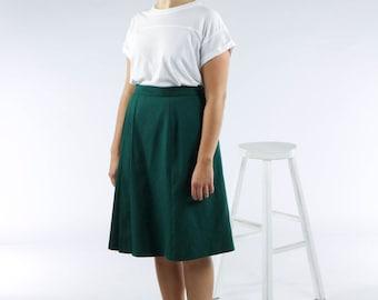 Forest Green Skirt / Pleated Retro Skirt / Vintage High Waisted Skirt