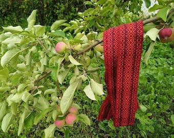 Ukrainian Woven Sash, Hand woven belt, Red Ukrainian Belt 2 pcs in stock, Belt for embroidered shirt, Ethnic cummerbund, for vyshivanka