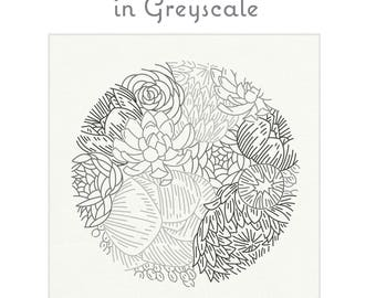 GREYSCALE floral fabric for embroidery by StudioMME