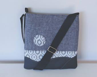 Tote: Dark Grey Fabric, Black Leather
