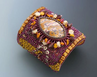 Bead Embroidery Cuff Bracelet. Third Time's the Charm. Bead embroidered. Mookite jasper, glass. Beadwork.
