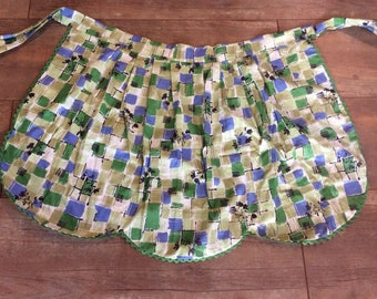 Vintage Checker Green Blue Apron with Green Trim