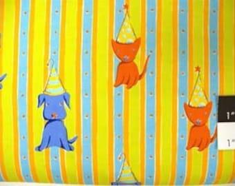 Free Spirit Felicity Miller Cat & Dog Stripe Orange Fabric By The Bolt
