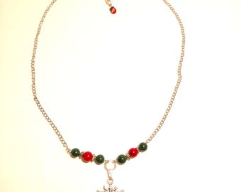 Snowflake Necklace with Coral and Malachite