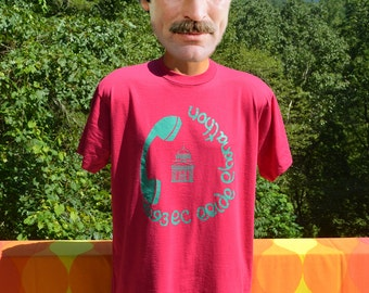 vintage 80s t-shirt PHONE-A-THON phone pride telephone college magenta pink tee shirt Large XL wtf