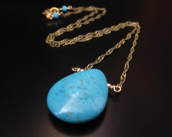 Turquoise Necklace, Turquoise Howlite, Layering Necklace, Turquoise Howlite Teardrop Pendant, Antique Brass Chain, 14K Gold Filled Wire