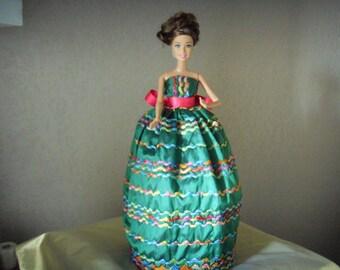 Doll clothes dress green precious fabrics DECLAWED silk handmade