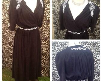 1940's black white beads  burlesque peek a boo dress vlv rockabilly