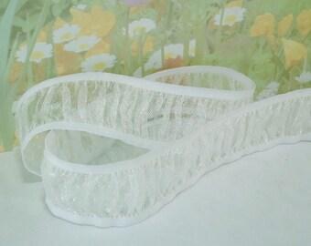 """3yds White Elastic Organza Trim Stretch Ribbon 1 + """" inch Wide Beautiful for diy Garter Wedding HeadBand lingerie Chiffon Elastic Band Trim"""