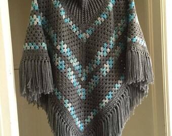 Crochet Cowl Neck Poncho Pattern