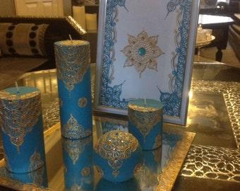 Henna set blue/gold